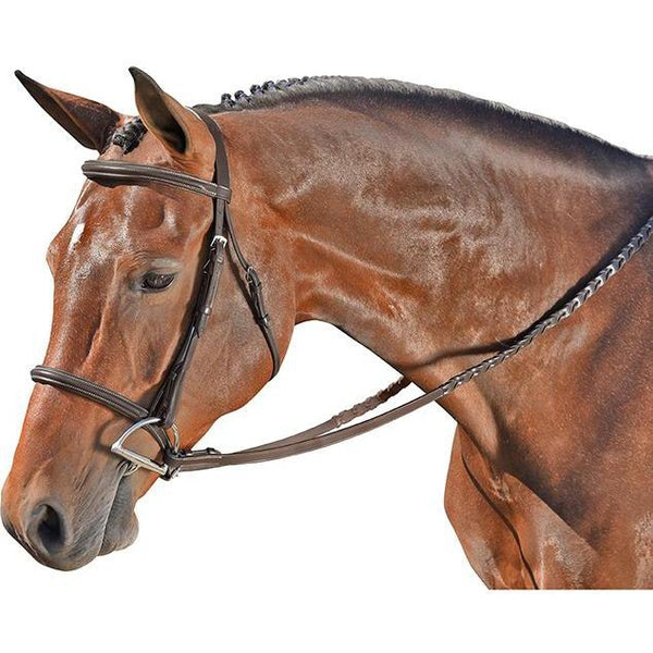 Flex Rider Chocolate Plain Raised Snaffle Bridle - West 20 Saddle Co.