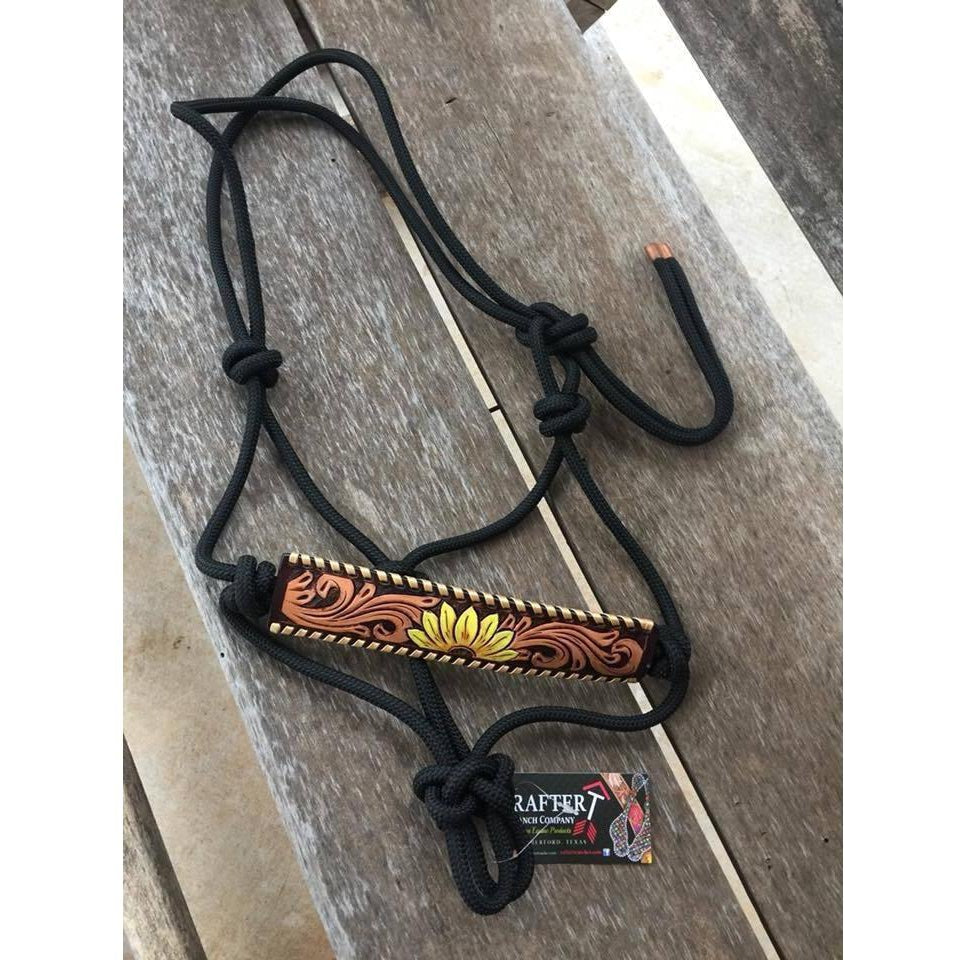 Rafter T Ranch Painted Sunflower Rope Halter - West 20 Saddle Co.