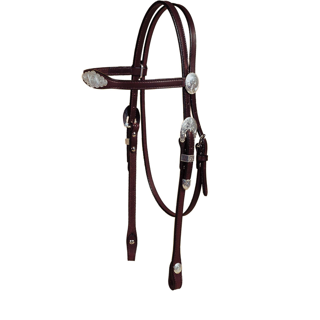 Tory Leather Flared Brow Show Headstall With Oklahoma Style Silver - West 20 Saddle Co.