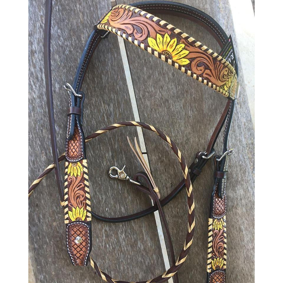 Rafter T Ranch Painted Sunflower Browband Headstall - West 20 Saddle Co.