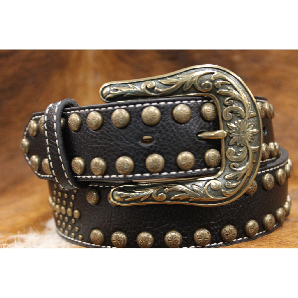 Women's Nocona Black and Brass Studded Nailhead Arrow Belt - West 20 Saddle Co.