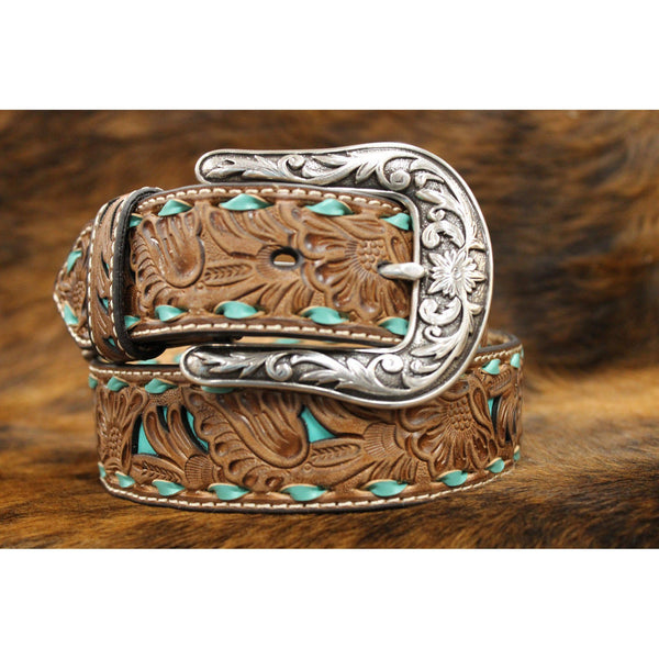 Women's Nocona Tan Floral Embossed Belt with Turquoise Inlay - West 20 Saddle Co.