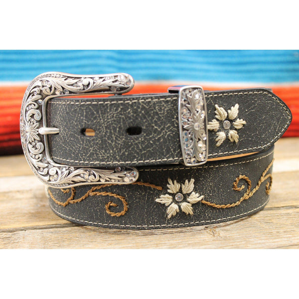 Women's Nocona Dark Crackle Floral Embroidered Belt - West 20 Saddle Co.