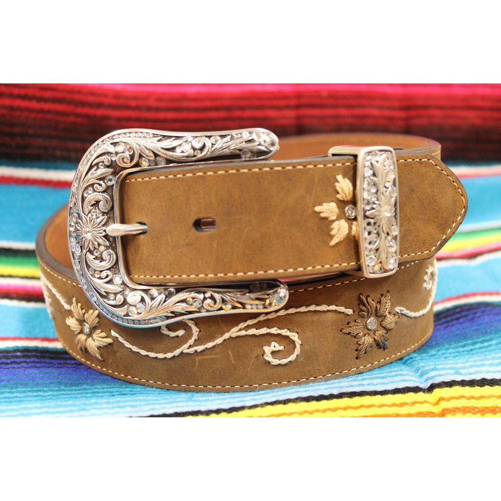 Women's Blazin Roxx Rhinestone and Floral Embroidered Belt - West 20 Saddle Co.