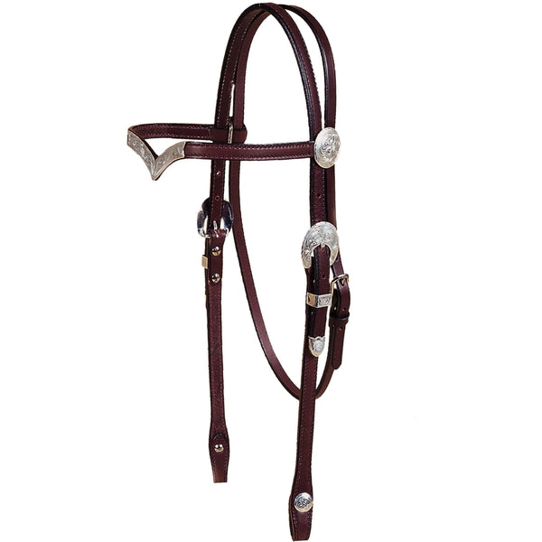 Tory Leather Oklahoma V-Brow Show Headstall - West 20 Saddle Co.