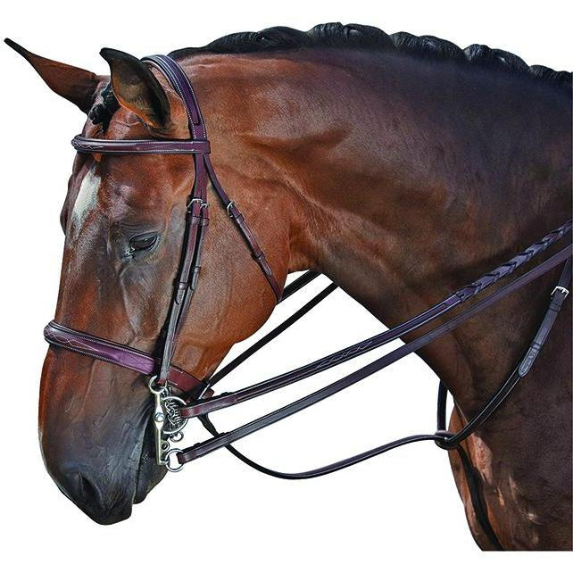 M. Toulouse Platinum Devon Snaffle Hunter Bridle Chocolate - West 20 Saddle Co.