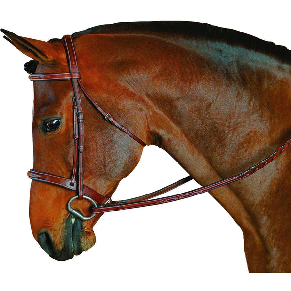 M. Toulouse Platinum Devon Snaffle Hunter Bridle Cognac With Chocolate Padding - West 20 Saddle Co.