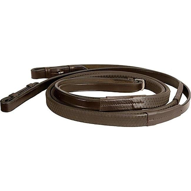 M. Toulouse Chocolate Soft Touch Flat Leather Rubber Reins - West 20 Saddle Co.