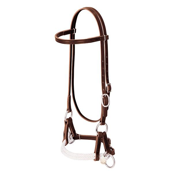 Weaver Leather Deluxe Latigo Leather Side Pull, Double Rope - West 20 Saddle Co.