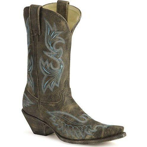 Corral Boots Distressed Black Eagle Stitched Vamp Snip Toe- R1963 - West 20 Saddle Co.