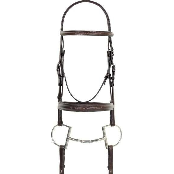 Camelot Fancy Stitched Round Wide Padded Monocrown Bridle With Reins - West 20 Saddle Co.