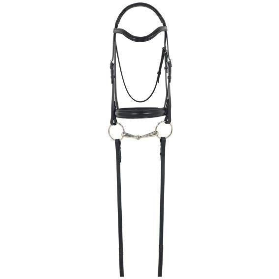 Camelot Gold RCS Snaffle Dressage Bridle With Crank Noseband And Reins - West 20 Saddle Co.
