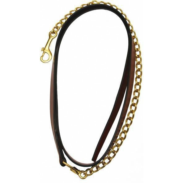 "Henri de Rivel Pro Collection Leather Lead With 24"" Solid Brass Chain - West 20 Saddle Co."