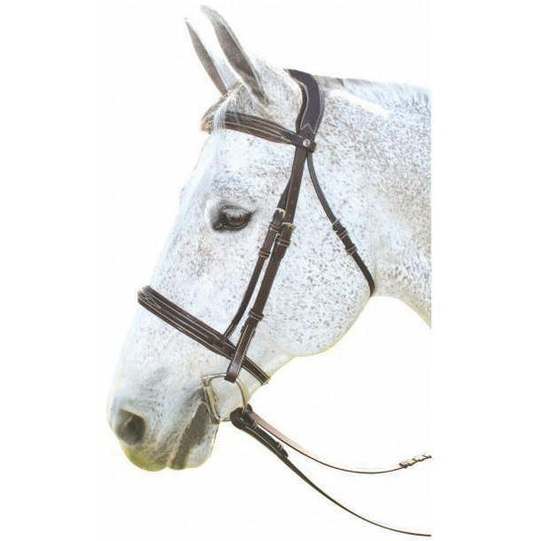 Henri de Rivel Pro Mono Crown Fancy Bridle With Patent Leather Piping - West 20 Saddle Co.