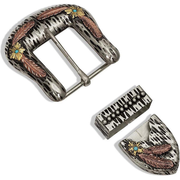 Montana Silversmiths Tri-Color Dappled Desert Buckle Set