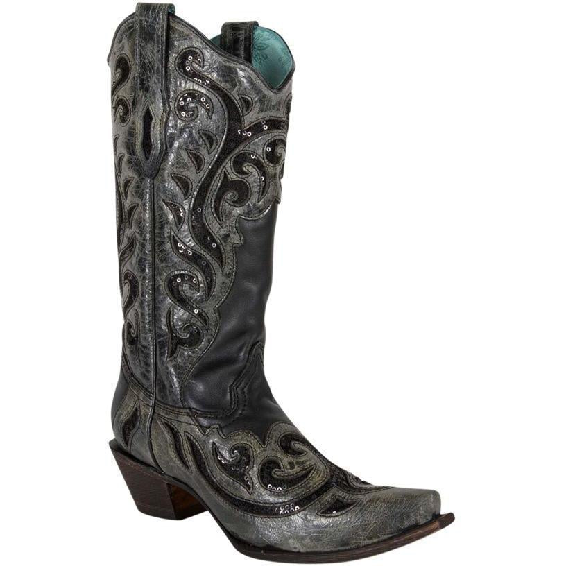 Corral Boots LD Black Inlay & Laser C1181 - West 20 Saddle Co.