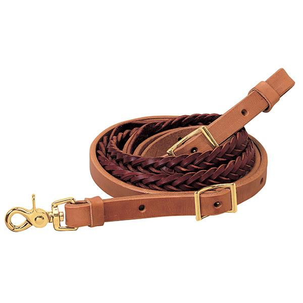 "Weaver Leather Harness and Latigo Leather 5-Plait Roper Rein, 3/4"" x 8' - West 20 Saddle Co."