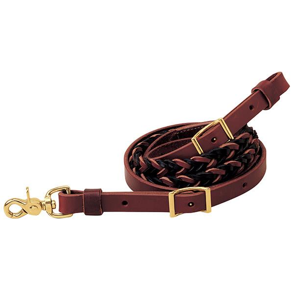 "Weaver Leather Two-Tone Latigo Leather 5-Plait Roper Rein, 3/4"" x 8' - West 20 Saddle Co."
