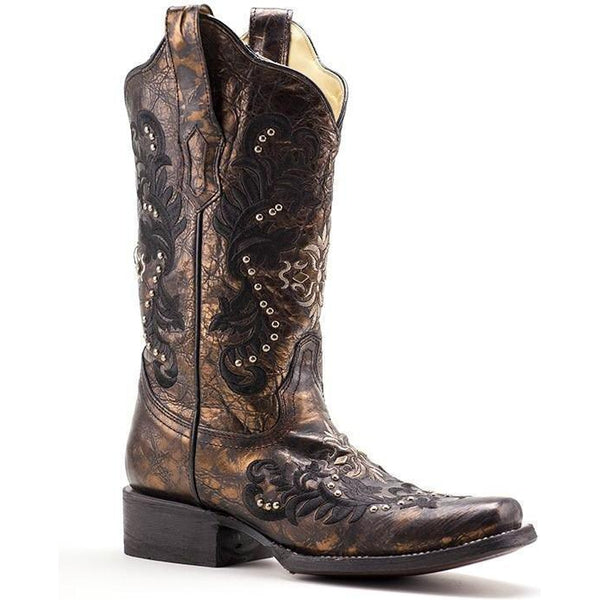 Corral Boots Square Toe Black & Bronze Embroidery with Studs- R1234 - West 20 Saddle Co.