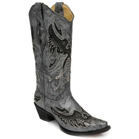 Corral Boots Black & Sliver Eagle Snip Toe- A2621 - West 20 Saddle Co.