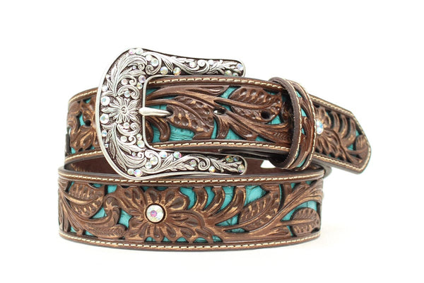 Ariat Women's Leather Tooled and Rhinestone Belt