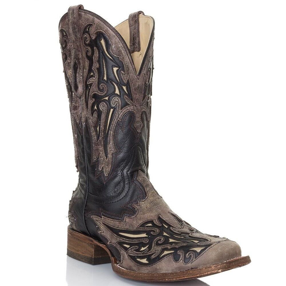 Corral Men's Black/Brown-Bone Inlay Square Toe Boots