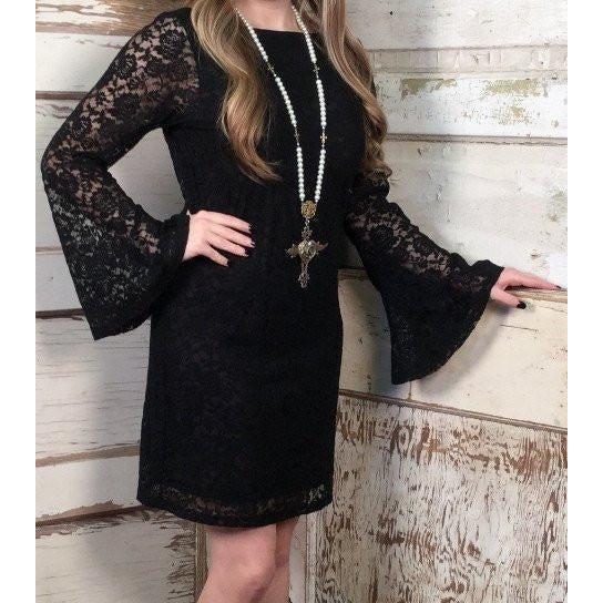 Cowgirl Justice Audery Black Lace Dress - West 20 Saddle Co.