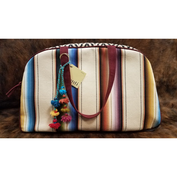 Atenti Striped Overnight Bag