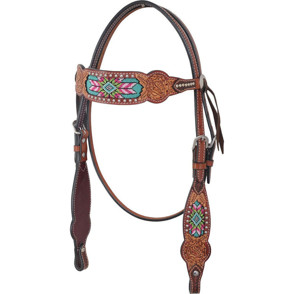 Beaded Inlay Collection-Browband Headstall - West 20 Saddle Co.