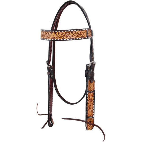 Rafter T Ranch Tooled Sunflower Collection Browband Headstall