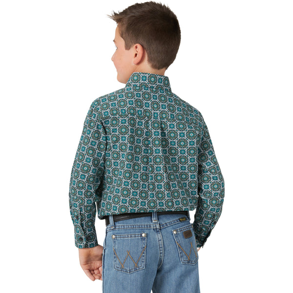 Wrangler Boy's Classic Long Sleeve Button-Down Shirt-Turquoise