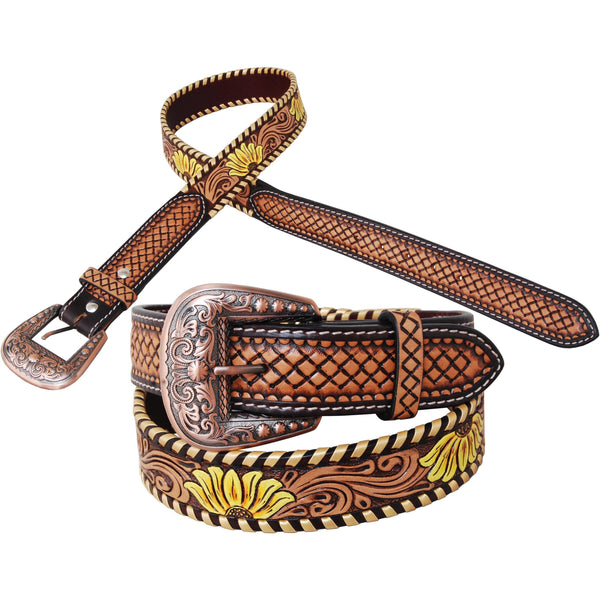 Rafter T Ranch Painted Sunflower Leather Belt