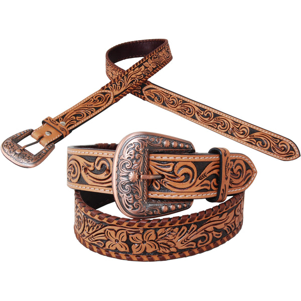Rafter T Ranch Tooled Floral Leather Belt