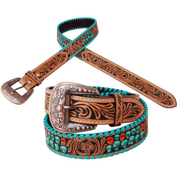 Rafter T Ranch Painted Cactus Leather Belt
