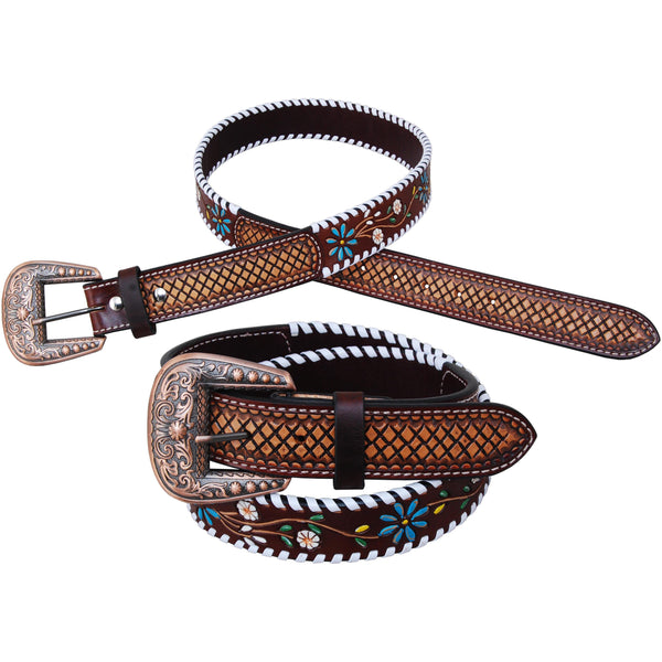 Rafter T Ranch Floral Vine Leather Belt