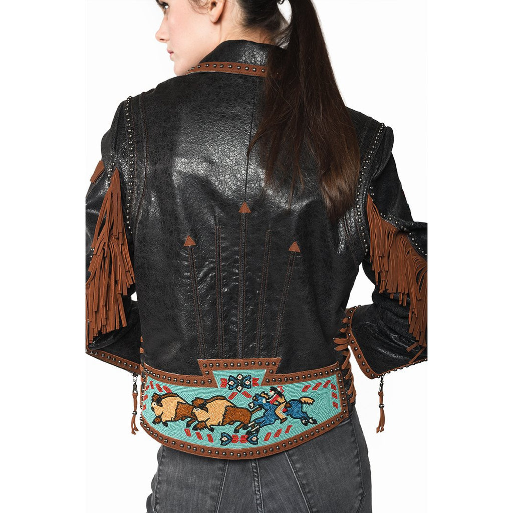 Double D Ranchwear Buffalo Chase Biker Jacket - West 20 Saddle Co.