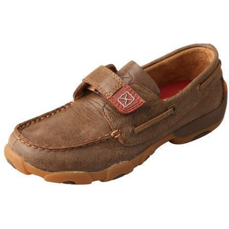 Twisted X Kids Boat Shoe Driving Moccasins-Bomber