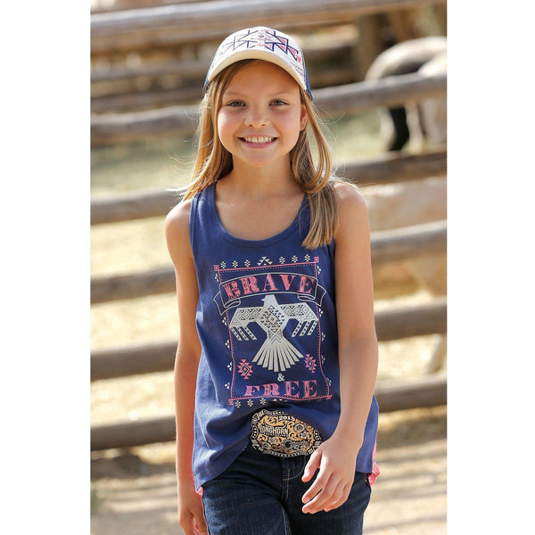 Cruel Girl's Navy Screen Print Tank with Lace - West 20 Saddle Co.