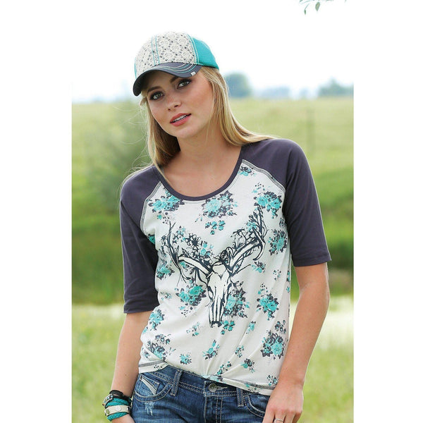Cruel Cream Raglan with Western Screen Print - West 20 Saddle Co.