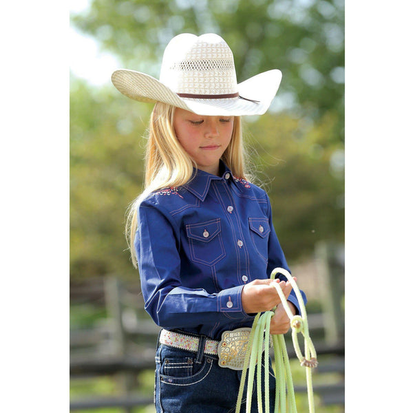 Cruel Girl's Navy Western Button Up - West 20 Saddle Co.