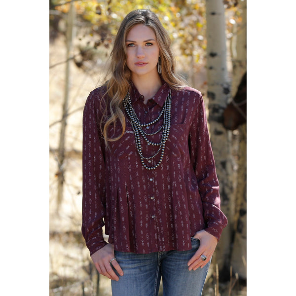 Cruel Womens Burgundy Arrow Print Button-Down Top