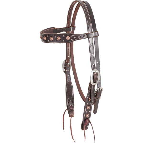 Martin Chocolate Rope Edged Dots Browband Headstall