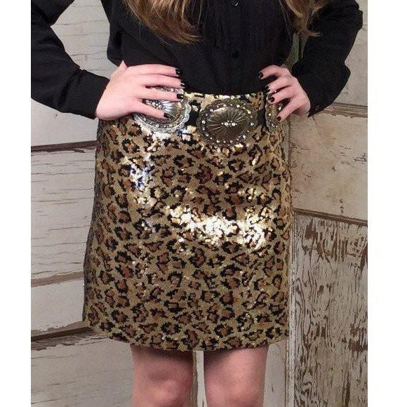 Cowgirl Justice Sequined Cheetah Skirt - West 20 Saddle Co.