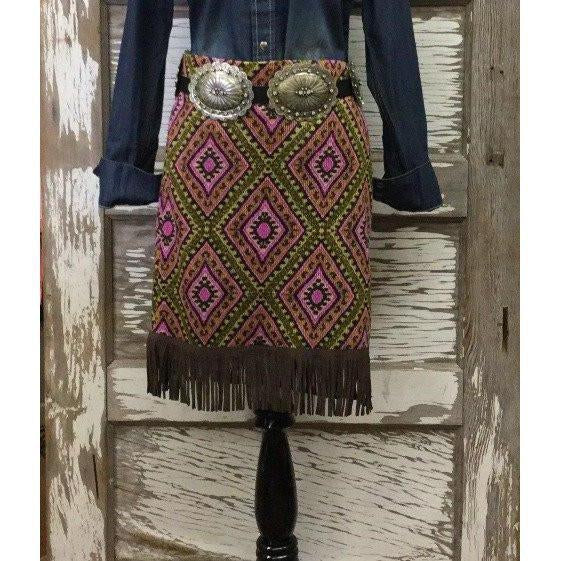 India Brown Fringe Skirt