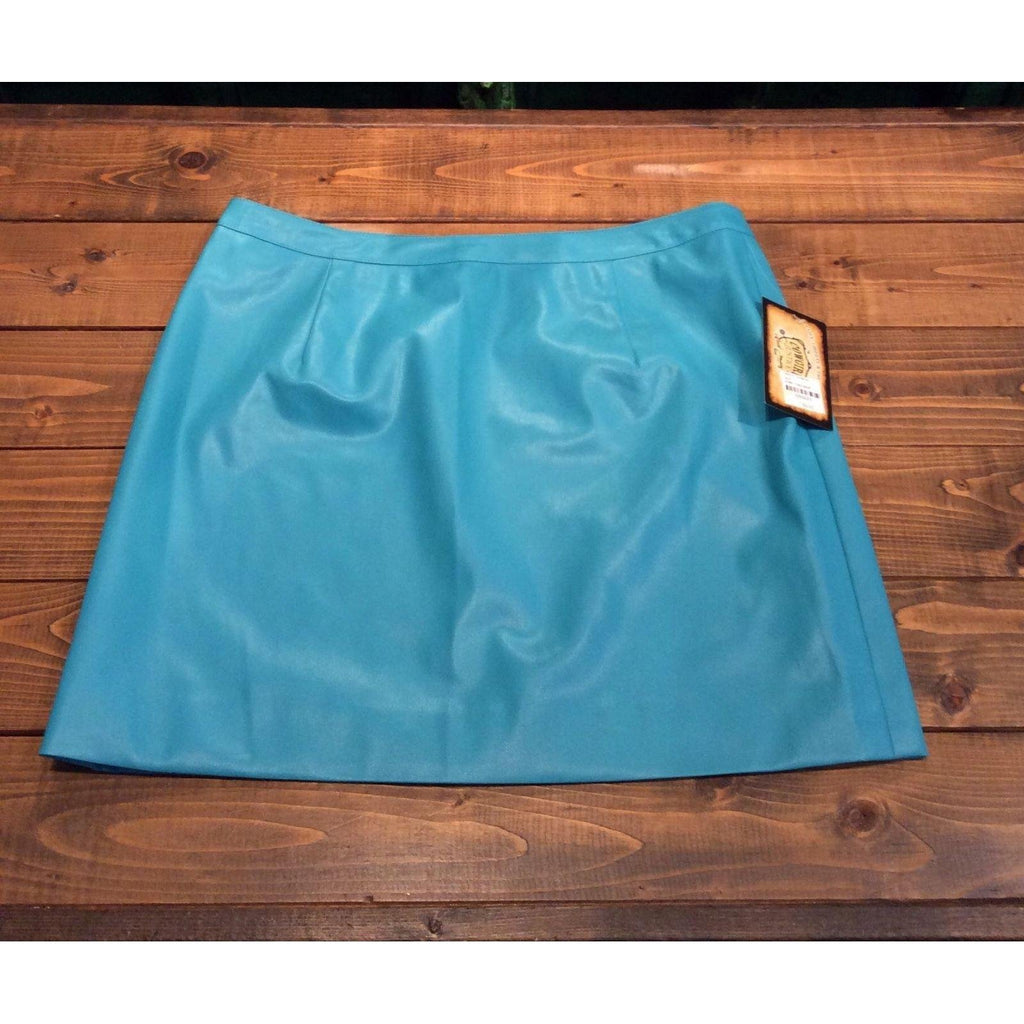 Cowgirl Justice Korey Turquoise Faux Leather Mini Skirt - West 20 Saddle Co.