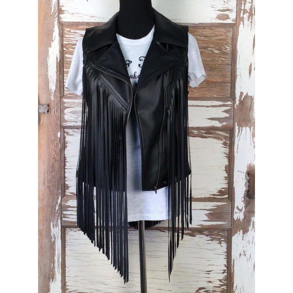 Cowgirl Justice Rebel Black Fringe Vest - West 20 Saddle Co.