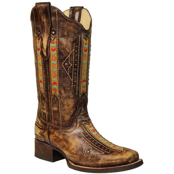 Corral Boots Cognac Ethnic Embroidery & Inlay with Stud Boots E1185 - West 20 Saddle Co.