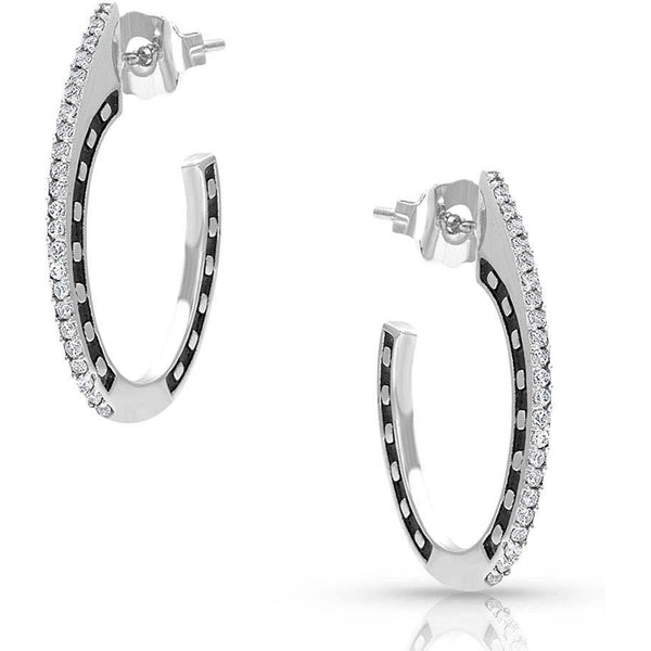 Montana Silversmiths Horseshoes On The Side Earring