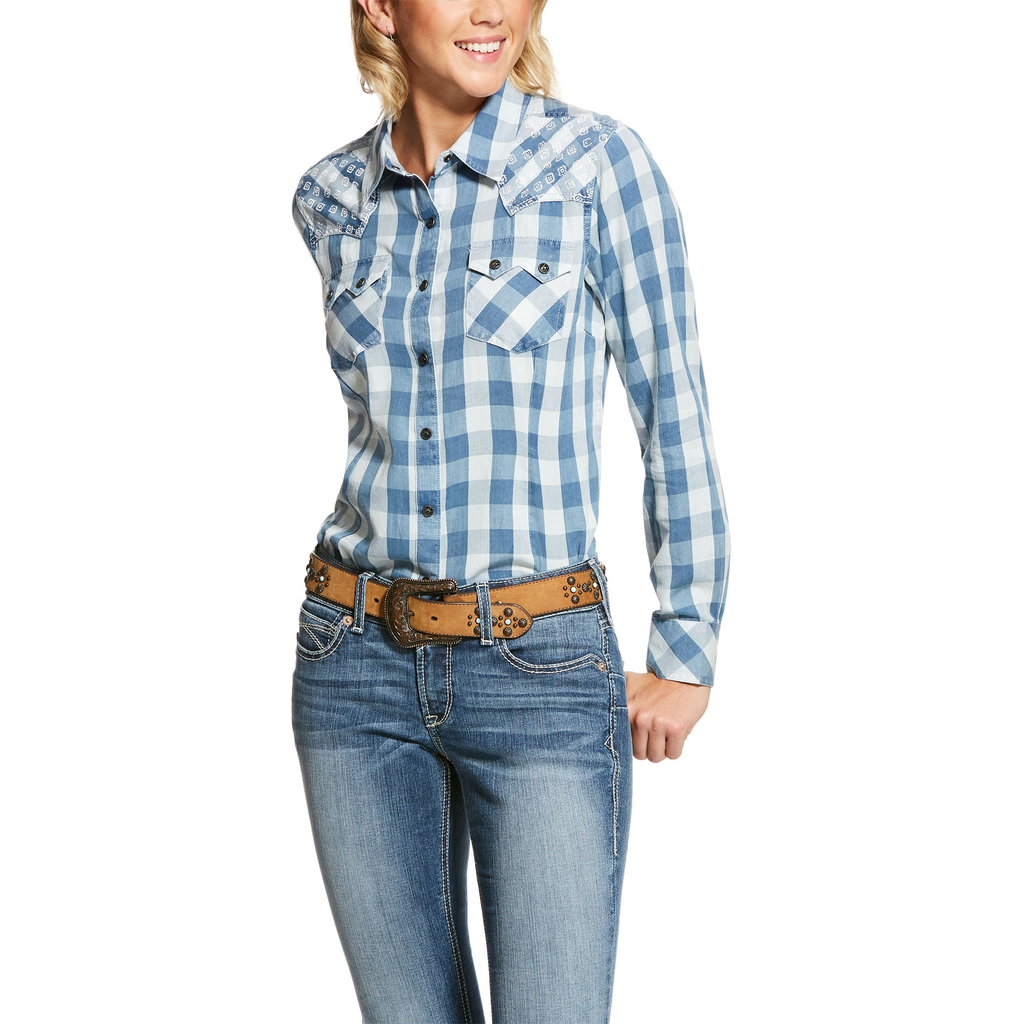 Ariat Womens REAL Proud Blue Plaid Button Snap Shirt