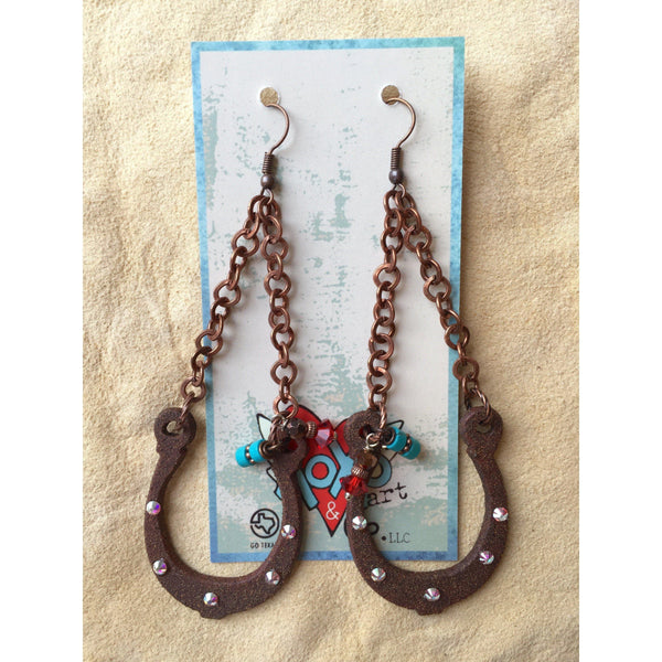 Chain Horseshoe Earrings - West 20 Saddle Co.